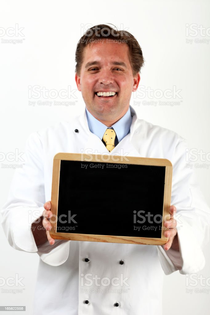 Chef Cook Holding Blank Slate stock photo