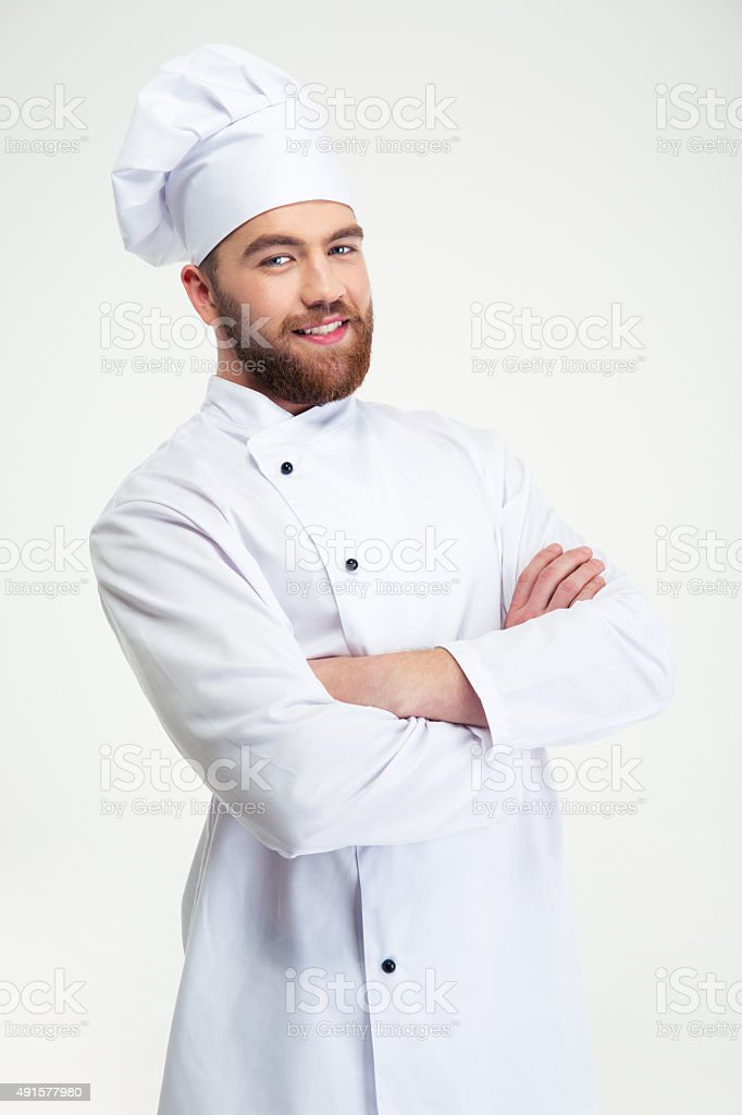 Chef cook standing with arms folded stock photo