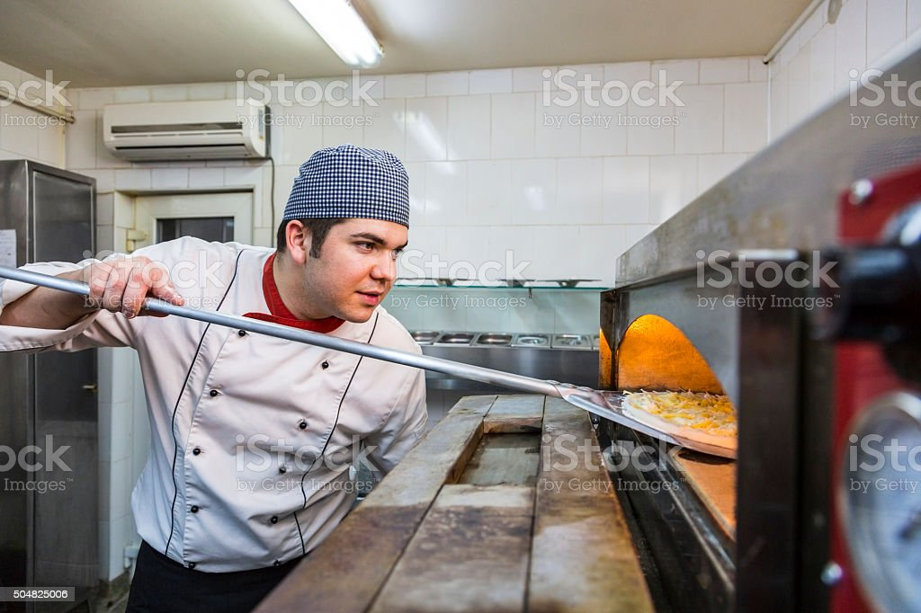 Chef Cooking Pizza stock photo