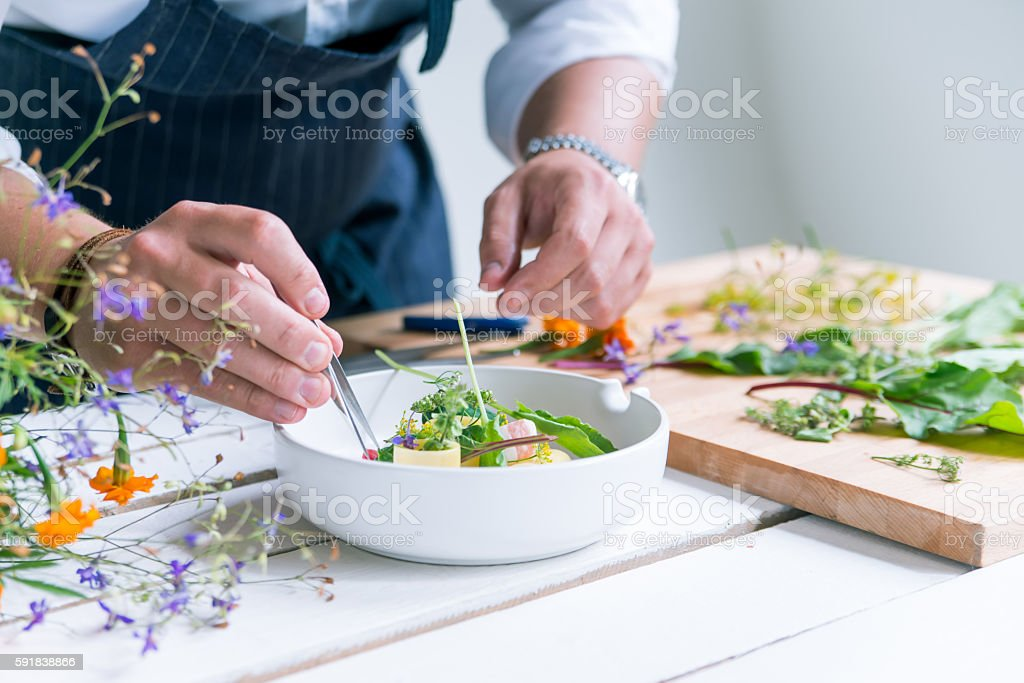 Chef cooks meal stock photo