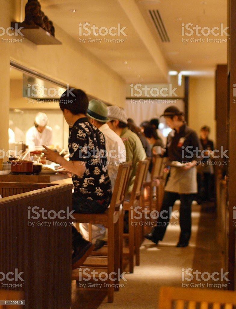chef, customers and waitress stock photo