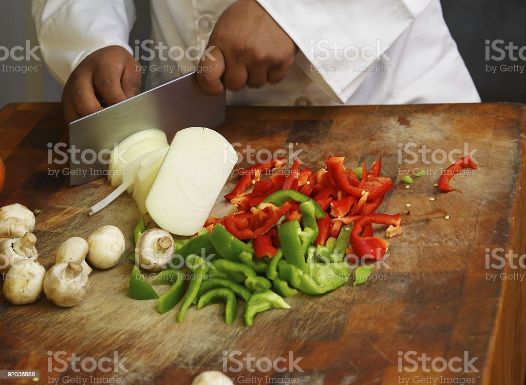 Chef Cutting Vegetables Close Up royalty-free stock photo