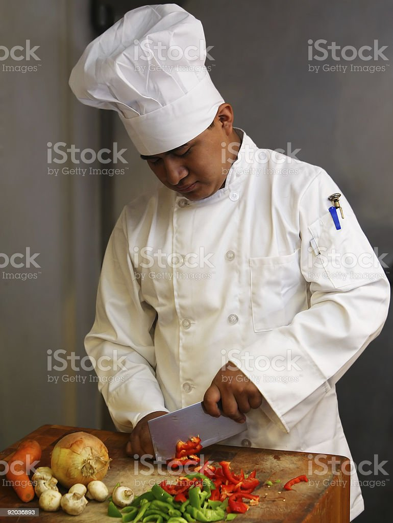 Chef Cutting Vegetables royalty-free stock photo