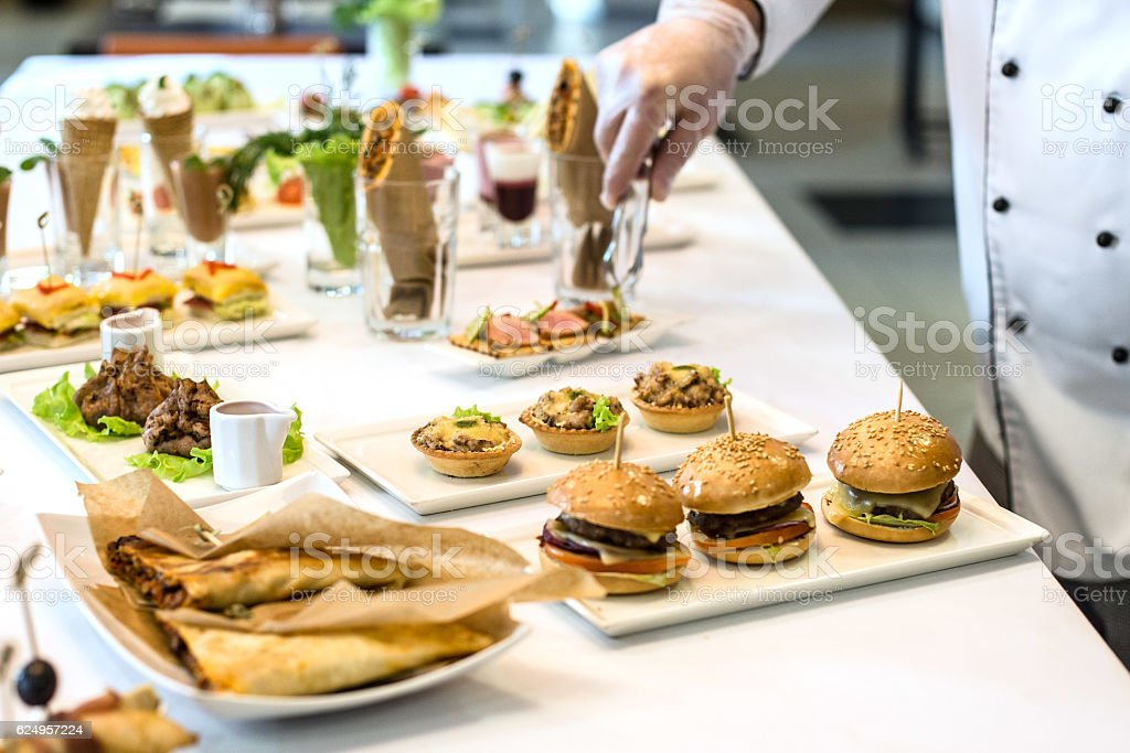 Chef decorate dishes stock photo