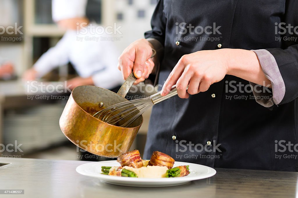 A Chef doing a fancy lunch in a expensive restaurant  royalty-free stock photo