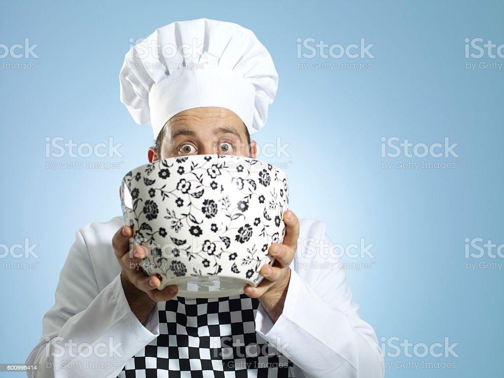 chef drinking stock photo