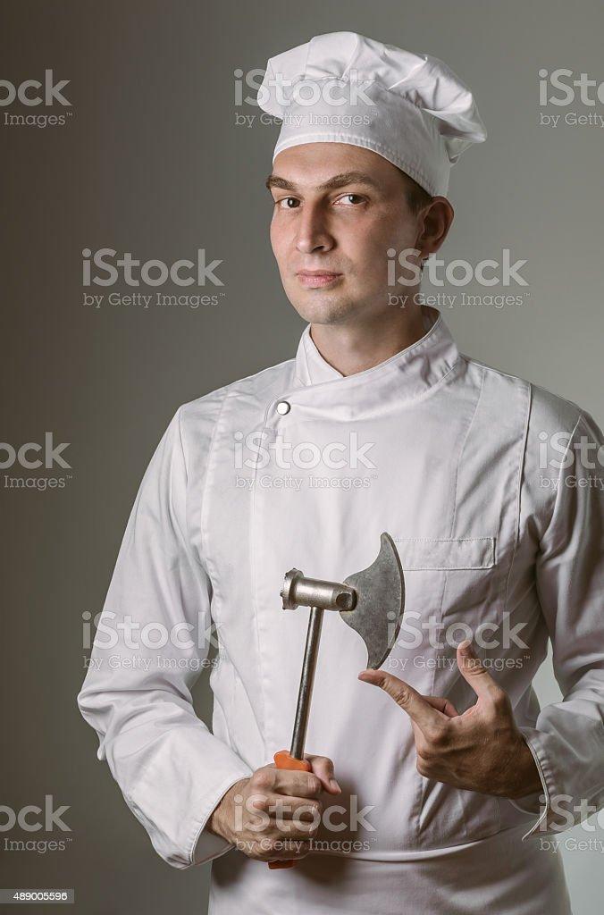 Chef holding chopper stock photo