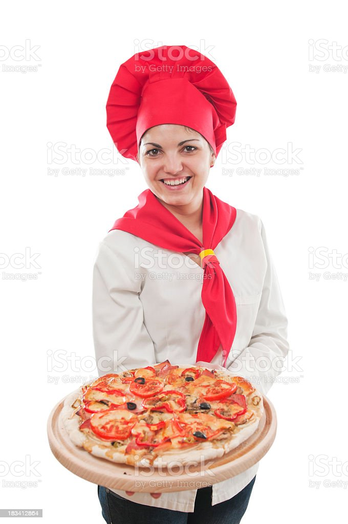 Chef holding pizza, isolated on white stock photo
