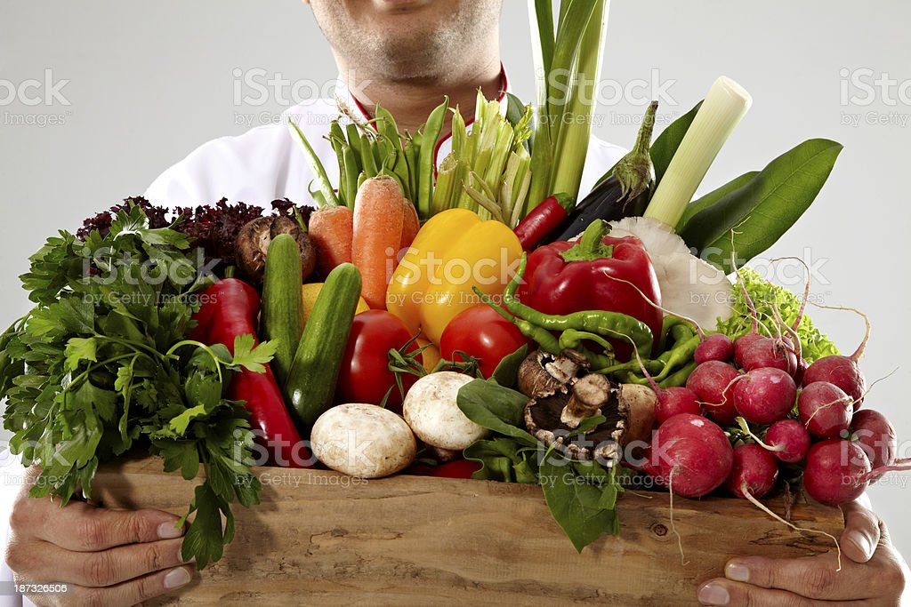 Chef Holding Vegetable Box royalty-free stock photo