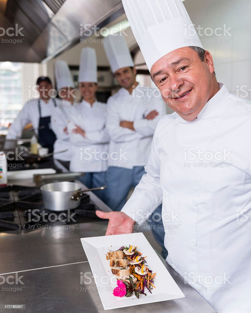 Chef in a cooking class royalty-free stock photo
