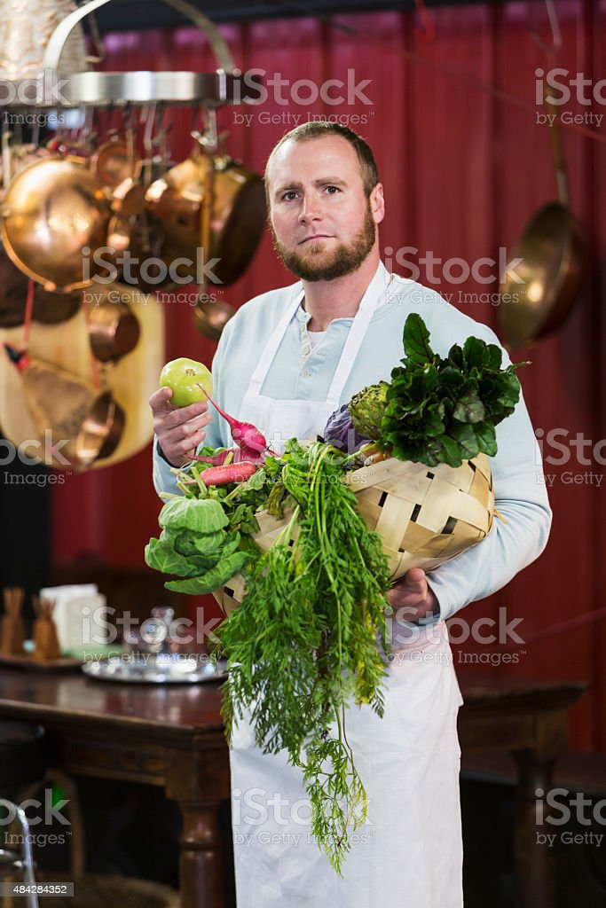 Chef in a farm to table restaurant stock photo