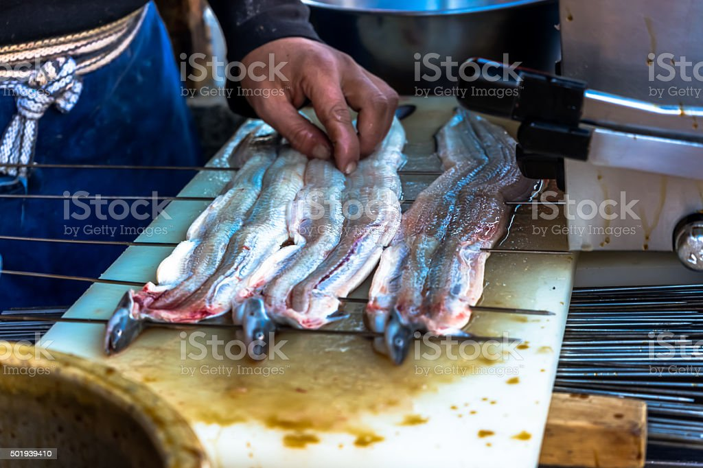 Chef is making grilled japanese eel stock photo