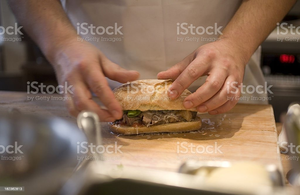 Chef making a sandwich stock photo