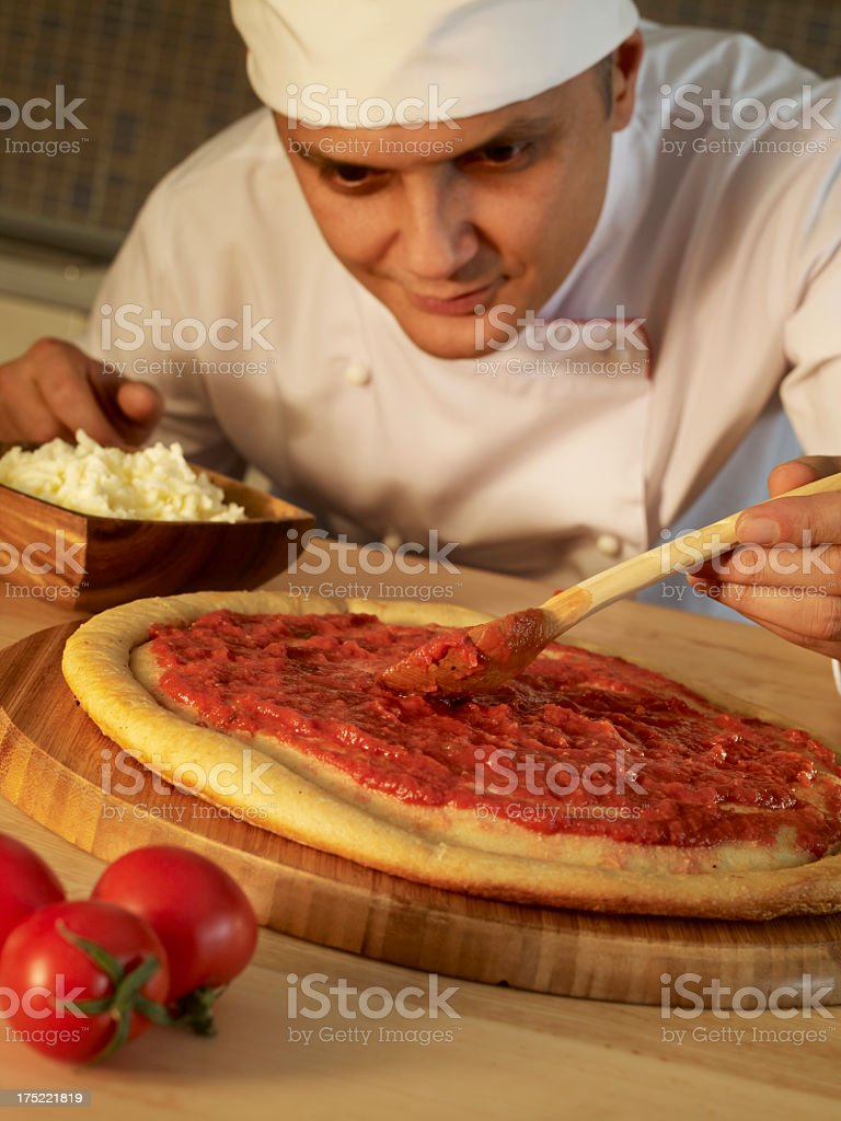 Chef Making Pizza royalty-free stock photo