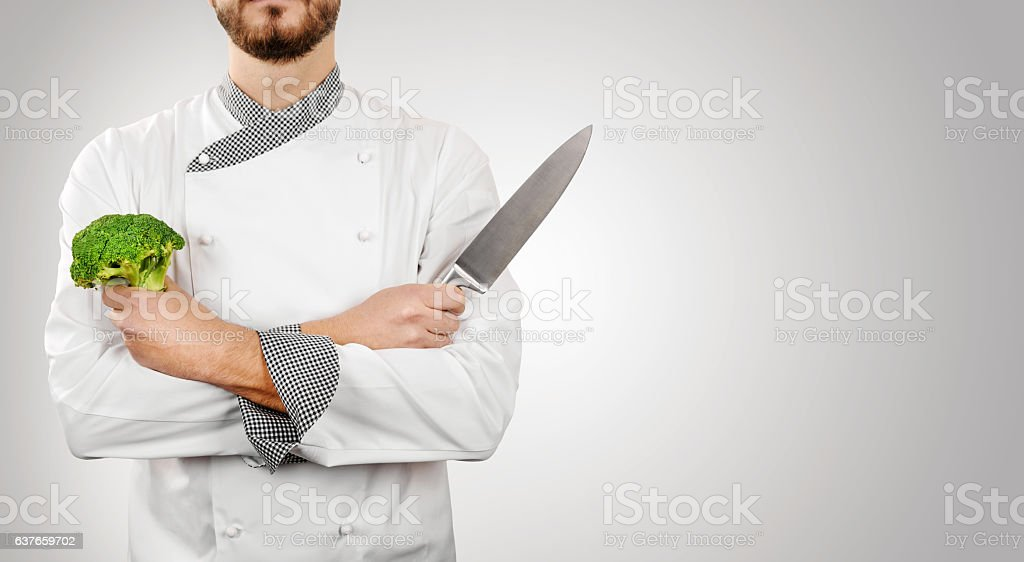 chef on gray background with copy space stock photo