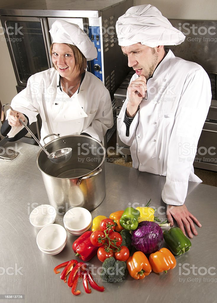 Chef Pondering the Cooking Pot stock photo