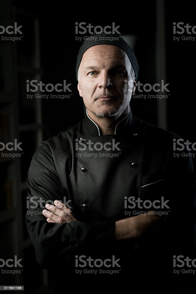 Chef portrait with arms crossed stock photo