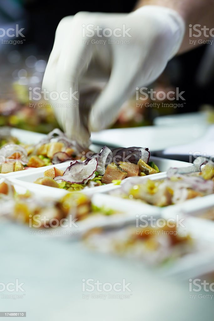 Chef preparing appetizers royalty-free stock photo