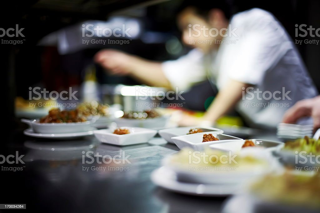 Chef preparing dishes stock photo