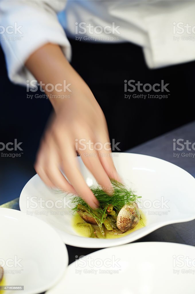 Chef preparing dishes royalty-free stock photo