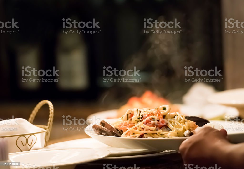 Chef preparing food stock photo