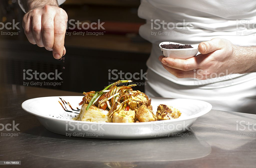 Chef preparing foods. stock photo