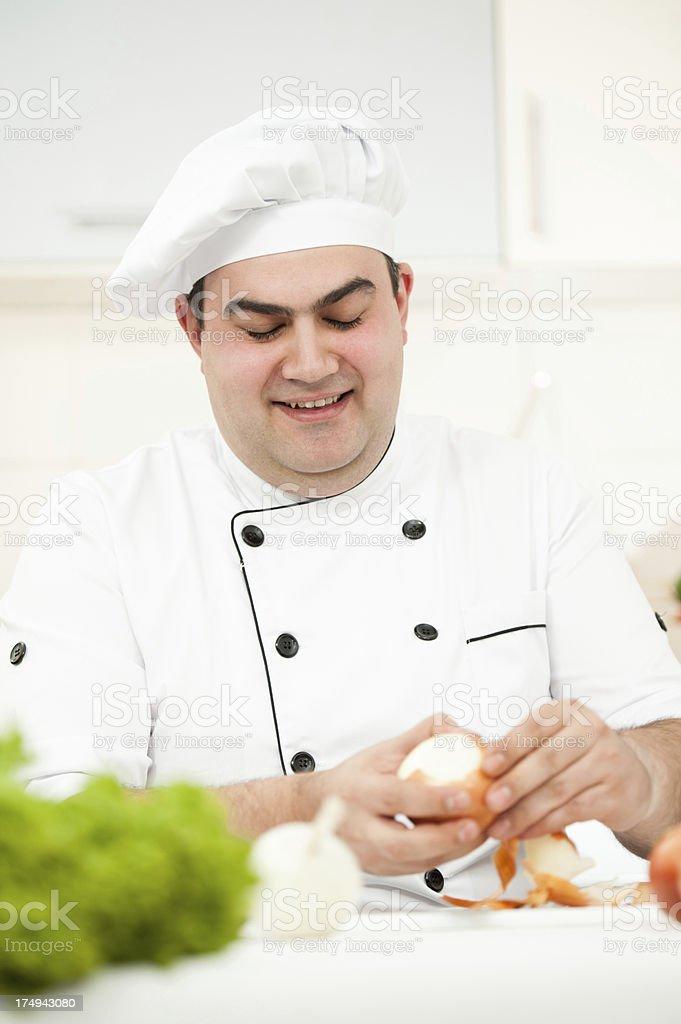 Chef preparing onions royalty-free stock photo