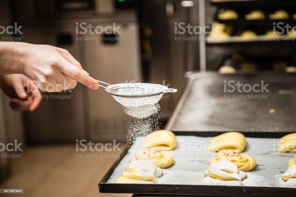 Chef preparing pastry stock photo
