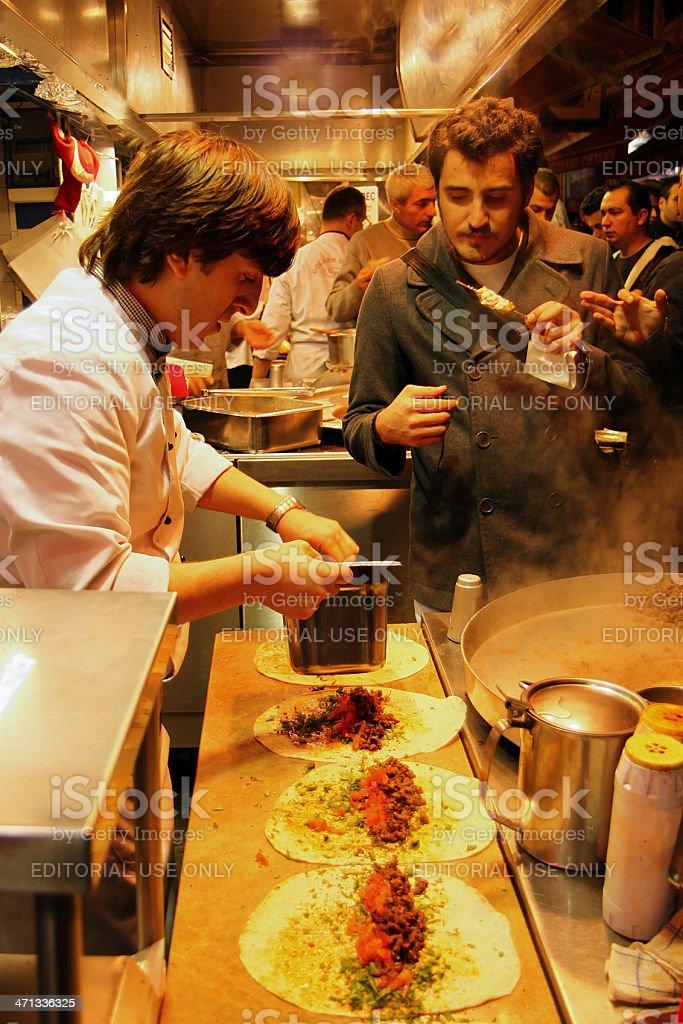 chef preparing tantuni royalty-free stock photo