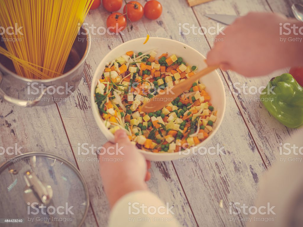chef preparing vegetable meal stock photo