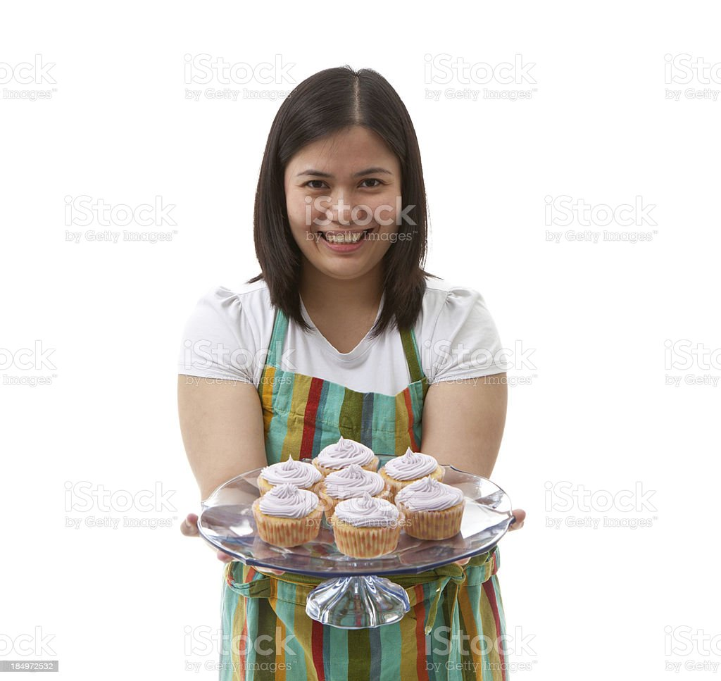 Chef presenting her cup-cakes royalty-free stock photo