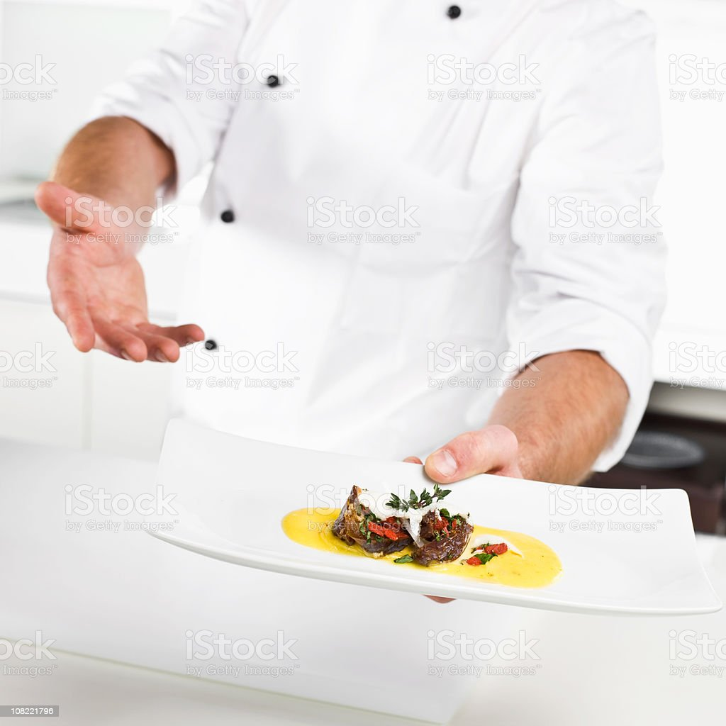 Chef Presenting Plate of Gourmet Food royalty-free stock photo