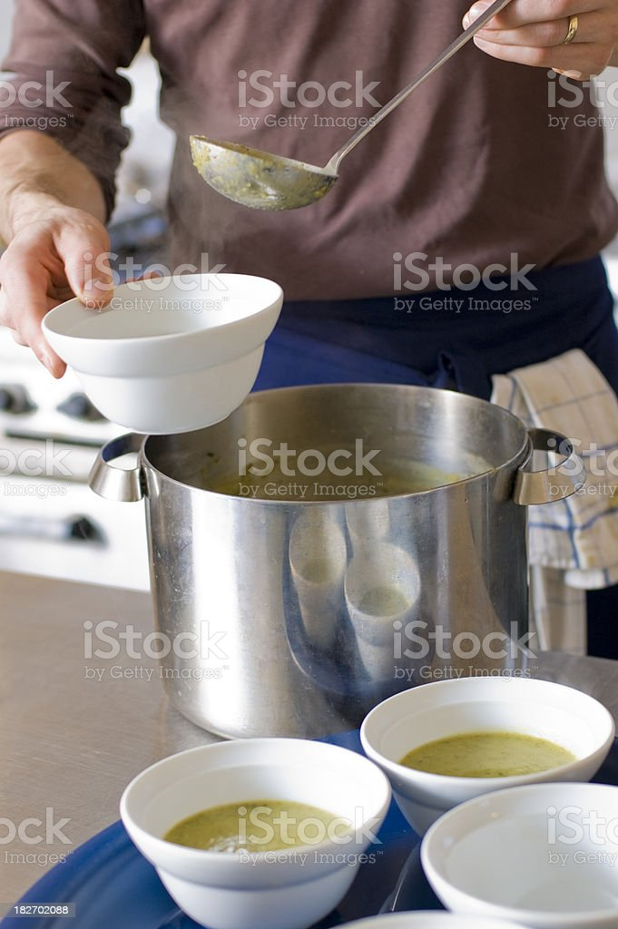 Chef Serving Soup royalty-free stock photo