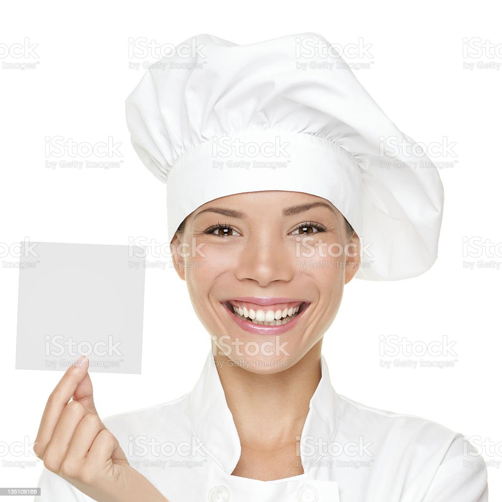 Chef showing sign card royalty-free stock photo