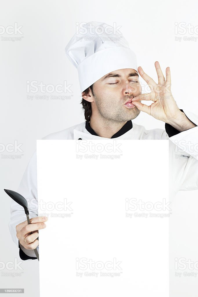 Chef showing the menu royalty-free stock photo