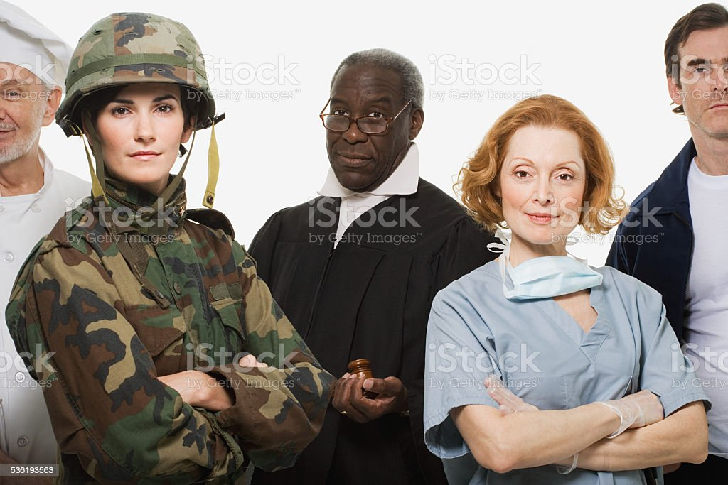 Chef soldier judge surgeon and delivery man stock photo
