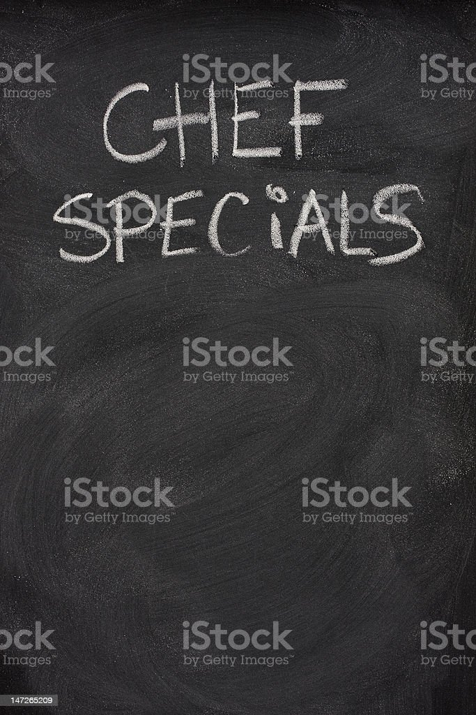 chef specials title on blackboard royalty-free stock photo