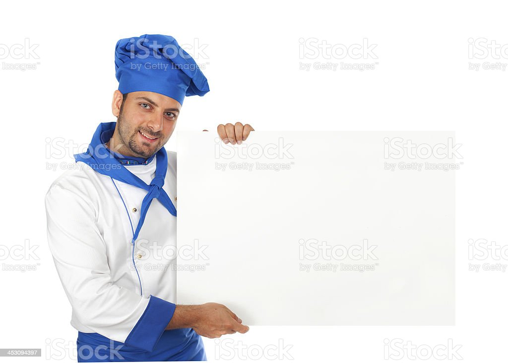 Chef with advertising sign stock photo