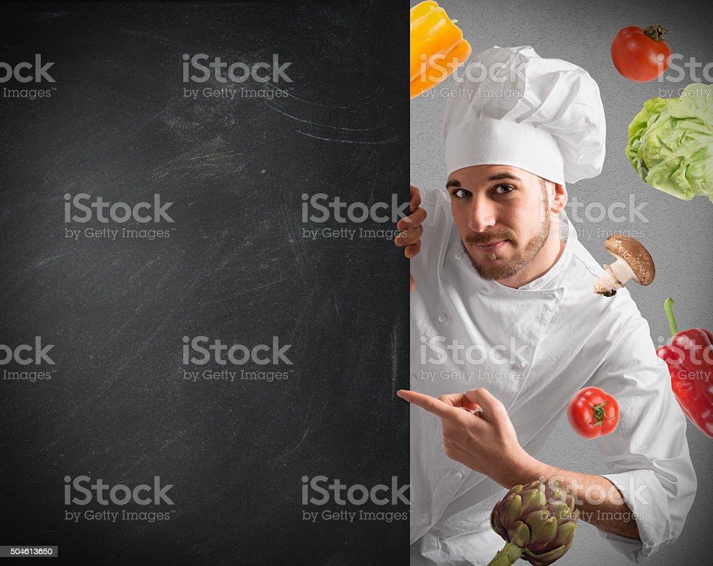 Chef with blackboard stock photo