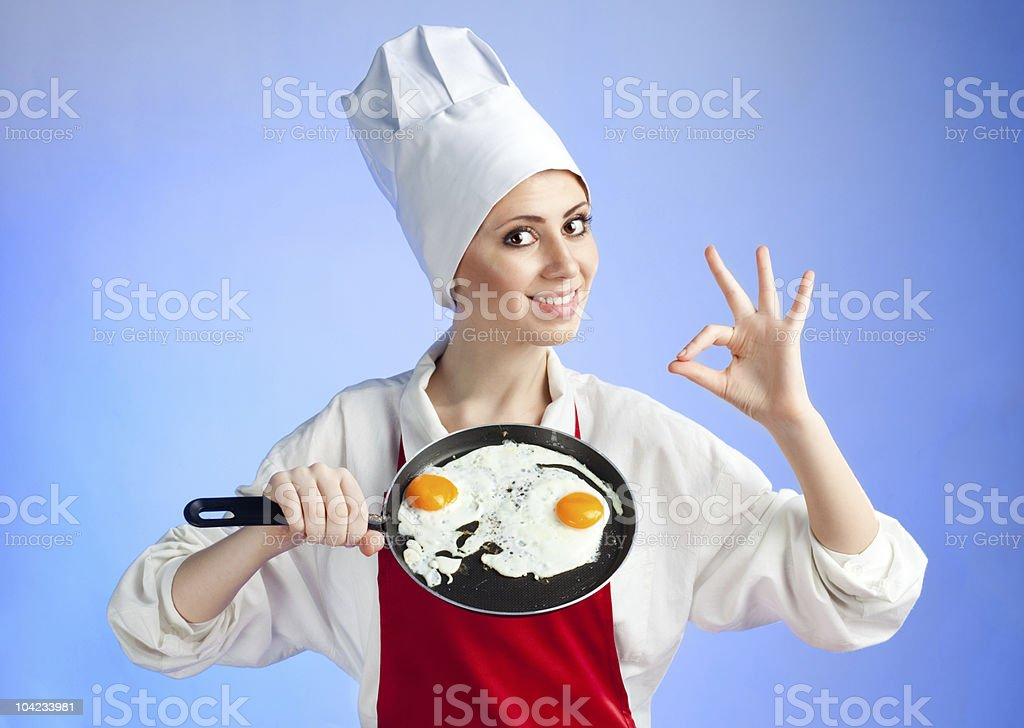 Chef with pan and frying egg royalty-free stock photo