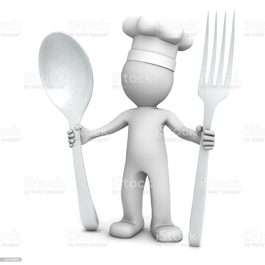 3D chef with spoon and fork stock photo