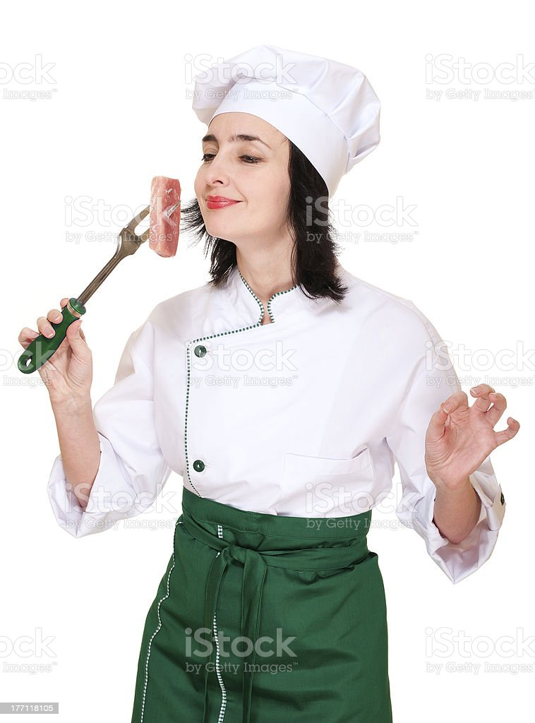 Chef woman smell fresh meat chunk royalty-free stock photo