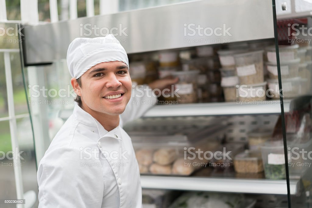 Chef working at a takeaway restaurant stock photo