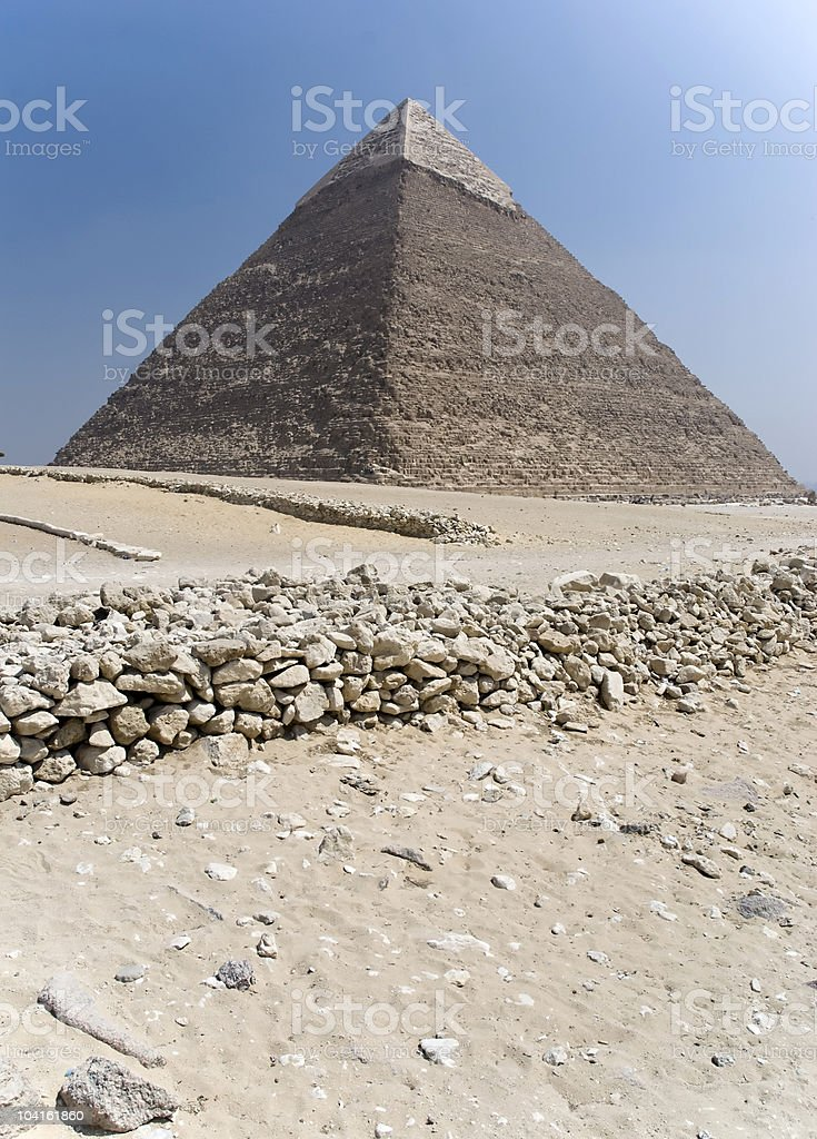 Chefren Pyramid in Giza royalty-free stock photo