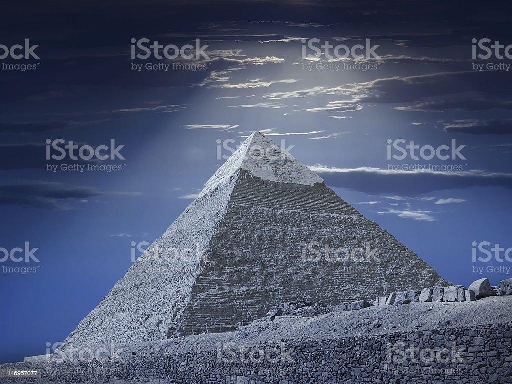 Chefren's pyramid at night royalty-free stock photo