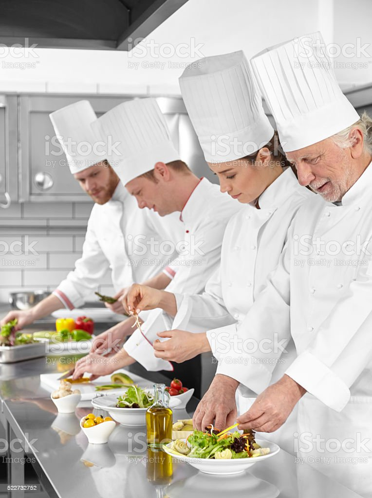 Chefs are preparing salads stock photo