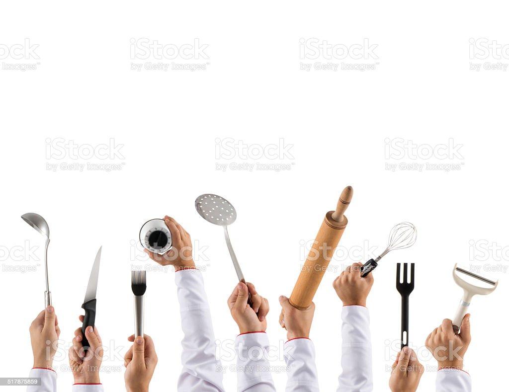 Chef's equipments stock photo