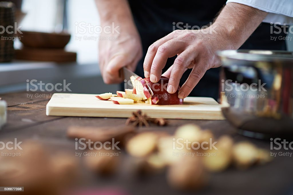 Chef's hands stock photo