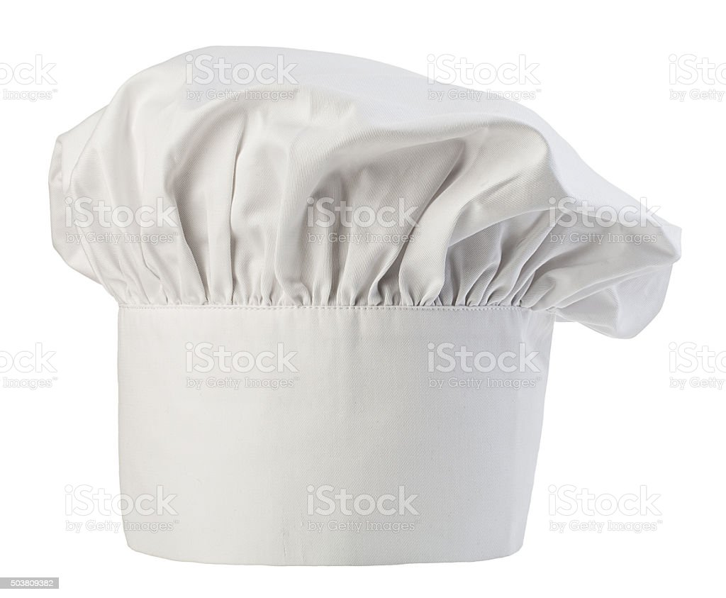 Chef's hat close-up isolated on a white background. Cooks cap. stock photo