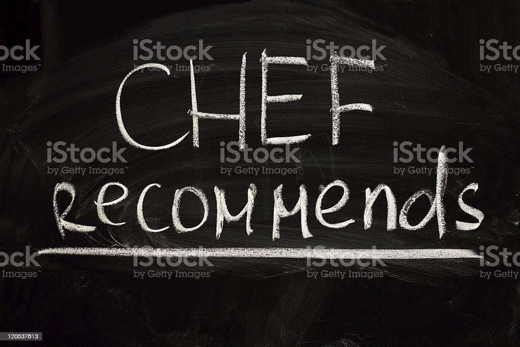 suggestion du Chef photo libre de droits